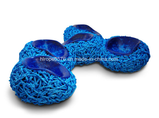 Blue 3-Strands Twisted Polypropylene Monofilament Rope with Both End Plain