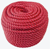 Red 3-Strands Twisted Polypropylene Monofilament Rope with Both End Plain